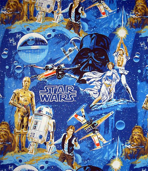 1977 Star Wars bed sheets, very cool design. I still have this set. Well, I am missing the fitted sheet