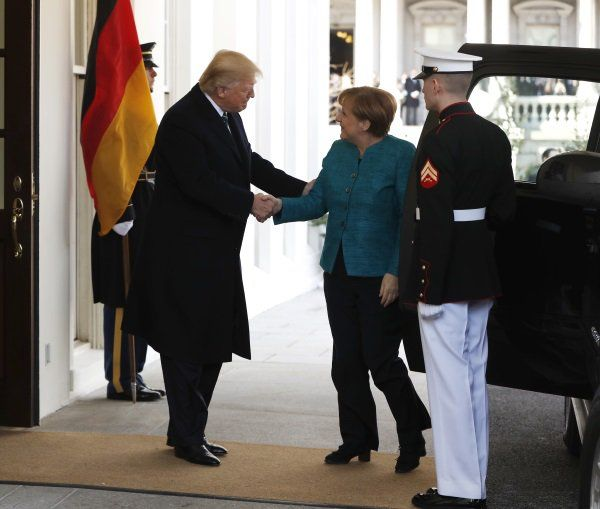 """Does the press not like facts?  Or just ones that don't line up with their """"Trump always has to look like an ass"""" agenda? Although they're reporting that Trump refused to shaker her hand, Trump shook Merkel's hand no less than 5 times. President Donald Trump greets German Chancellor Angela Merkel outside the West Wing of the White House in Washington, Friday, March 17, 2017."""