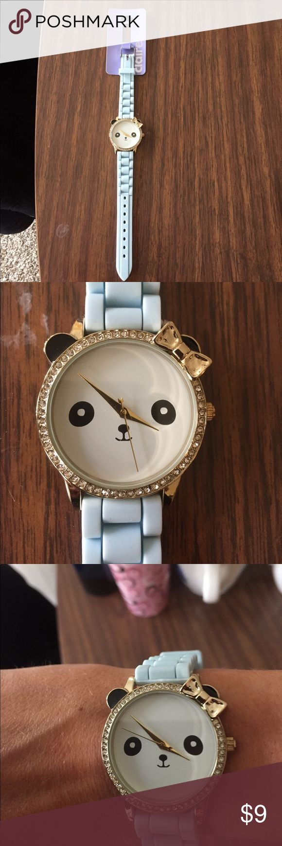Watch with instructions Never worn light blue panda watch super cute the band is silicone so it is kind of stretchy and super comfortable Candie's Accessories Watches