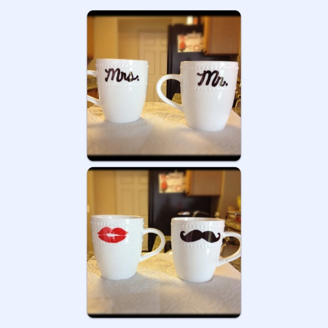 Dollar Tree Mugs + Sharpie + Oven at 350 for 30 min= $2.00 Wedding Gift!