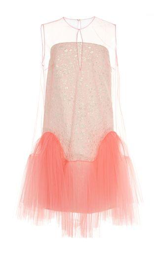 Sleeveless Jacquard And Tulle Short Dress by DELPOZO for Preorder on Moda Operandi