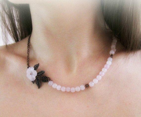 Rose quartz necklace floral necklace gemstone by MalinaCapricciosa