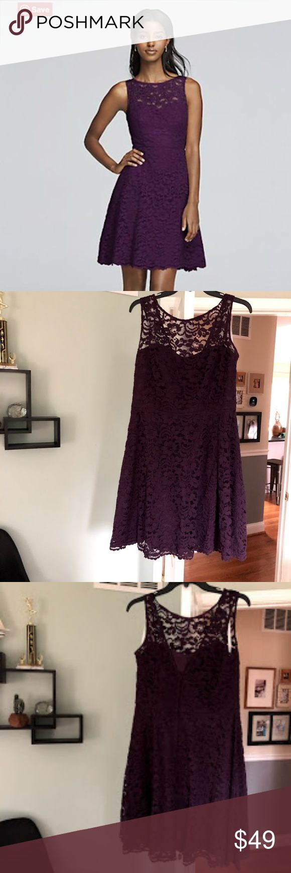 DAVID'S BRIDAL short sleeveless lace plum dress DAVID'S BRIDAL short sleeveless lace plum dress, size 12 non smoking home, no flaws worn once, 52% Nylon 48% Rayon. The illusion lace neckline adds a cool cutout effect to this short lace bridesmaid dress. High illusion sweetheart neckline. Skirt sits above the knee with scalloped hemline. Fully lined. Zipper Back. Imported polyester. David's Bridal Dresses Mini