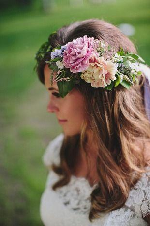 Boho wedding hair idea - loose curls with lush flower + greenery crown {Ashley Marks Photography}