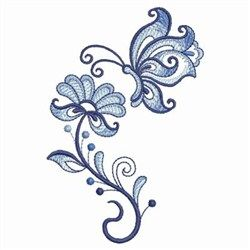 Blue Jacobean Floral Butterfly embroidery design