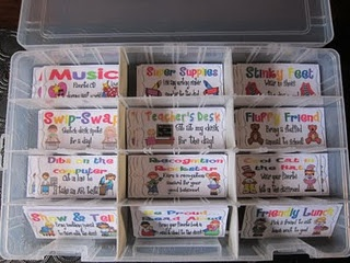 "Get rid of the expensive Treasure Box!  Thursday, students turn in the ""Warm Fuzzies"" they've earned and select a mini  laminated cardstock to use Friday. They can ONLY use them on Friday. Examples: ""Wear your favorite hat to school"", ""sit at the teacher's desk"", ""job swap"", ""cd book picker"", ""calendar teacher"", ""treat jar"", ""no homework pass"", ""pencil"", ""pencil grip"" or ""eraser""."