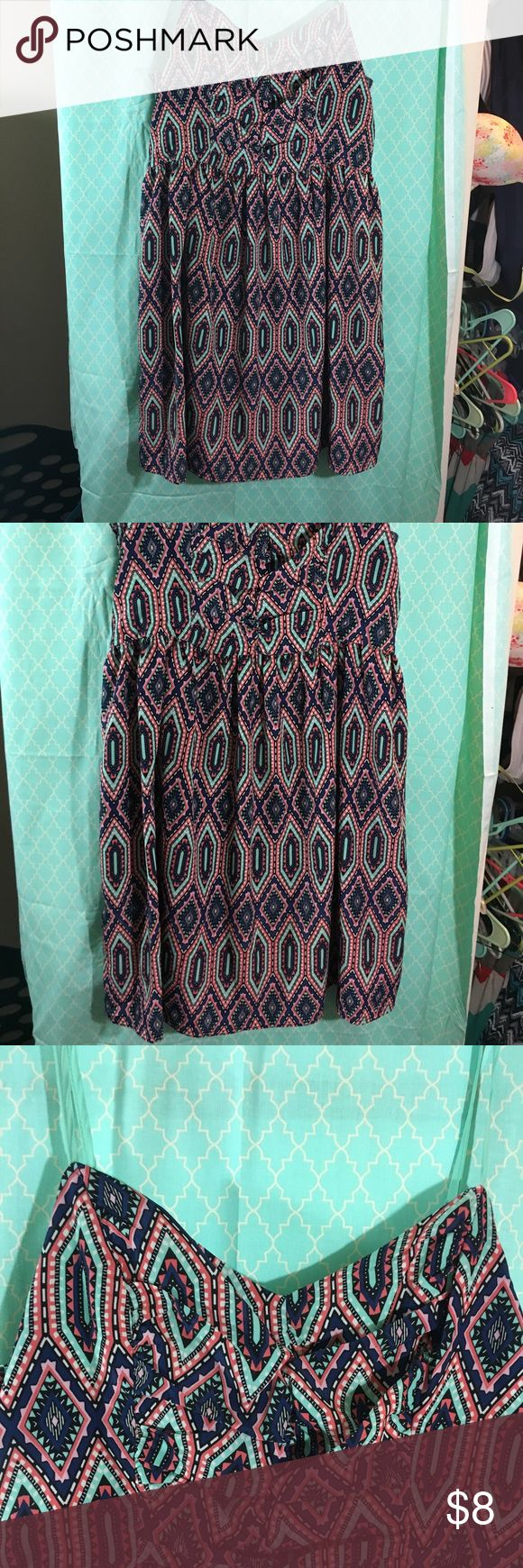 Multicolored patterned mini dress I love this Pattern! Dress is in perfect condition! Xhilaration Dresses Mini