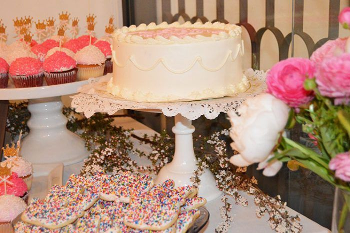 Pretty in pink themed desserts. Sprinkles and icing all day.