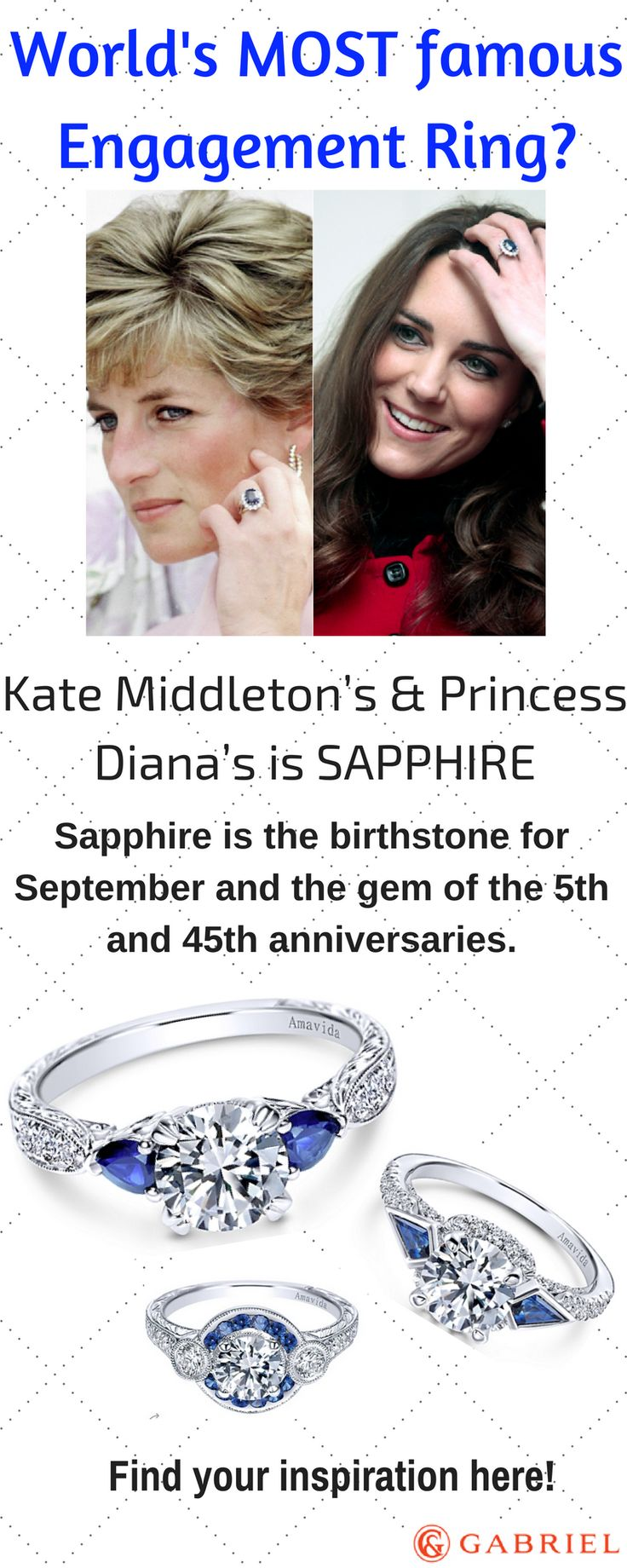 Sapphires have been treasured for thousands of years, aging back to the ancient Romans. Both Kate Middleton and Princess Diana have rocked a deep blue sapphire engagement ring. Deep sapphires are associated with the word 'royalty'-- which may or may not have contributed to the term 'royal blue.' Get your lady feeling royal today by checking out our selection of sapphire engagement rings, so she too, can feel like a Princess on her Wedding Day.