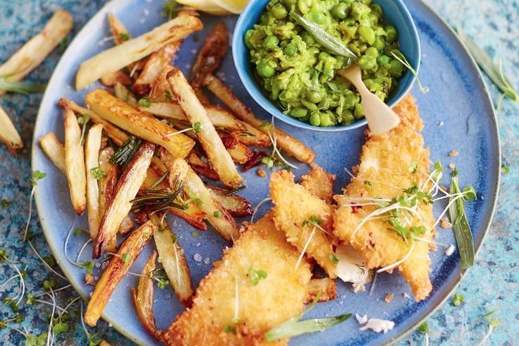 Channel the quintessential sea-side British dinner with fish and chips with a side of sweet and tender mushy peas.