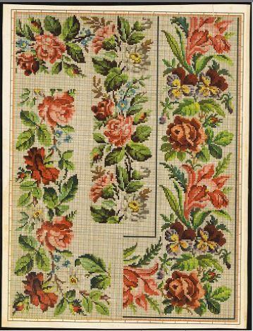 Berlin WoolWork Floral Border Patterns