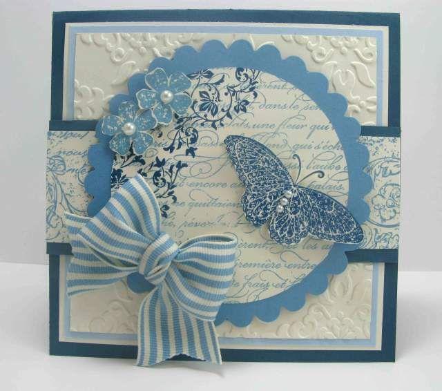 Beautiful blue & vanilla cardColors Combos, Vintage Wallpapers, Jars Gift, Summertime Blue, Paper Art, Butterflies Cards, Art 101, Christmas Gift, Vintage Vogue