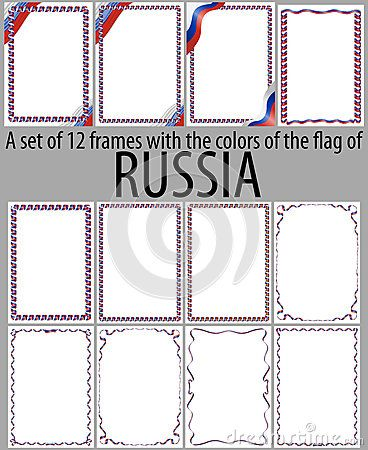 Set of 12 frames with the colors of the flag of Russia.