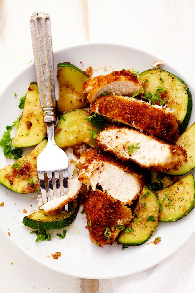 Crispy Parmesan Garlic Chicken with Zucchini is a fantastic one pan meal that the family will love!  The chicken is ...