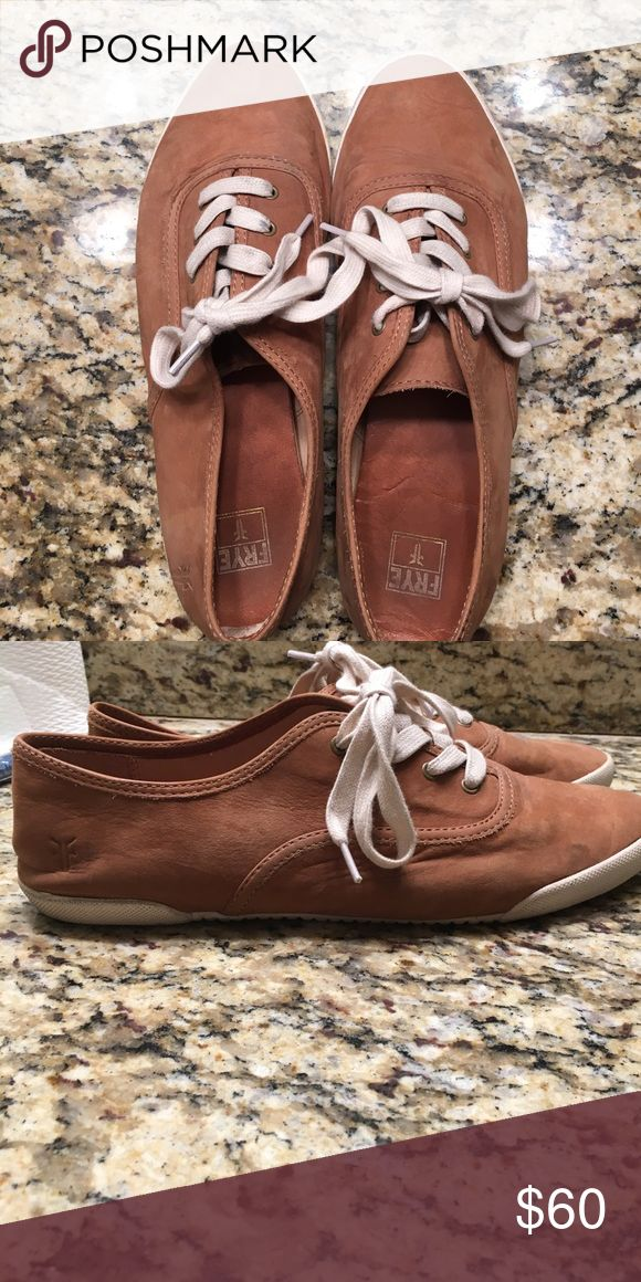 Barely worn tan leather Frye shoes So cute!! These tan, leather Frye shoes have only been worn three times!!! Frye Shoes Sneakers