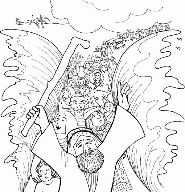 Moses Parting The Red Sea Coloring Page New Moses Cloroing Pages Bible Coloring Pages Bible Coloring Sunday School Coloring Pages