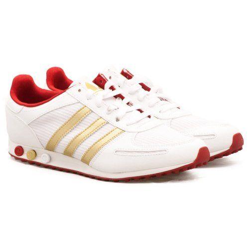 adidas womens white gold la sleek casual sports trainer g61056 (UK 8 / EU 42