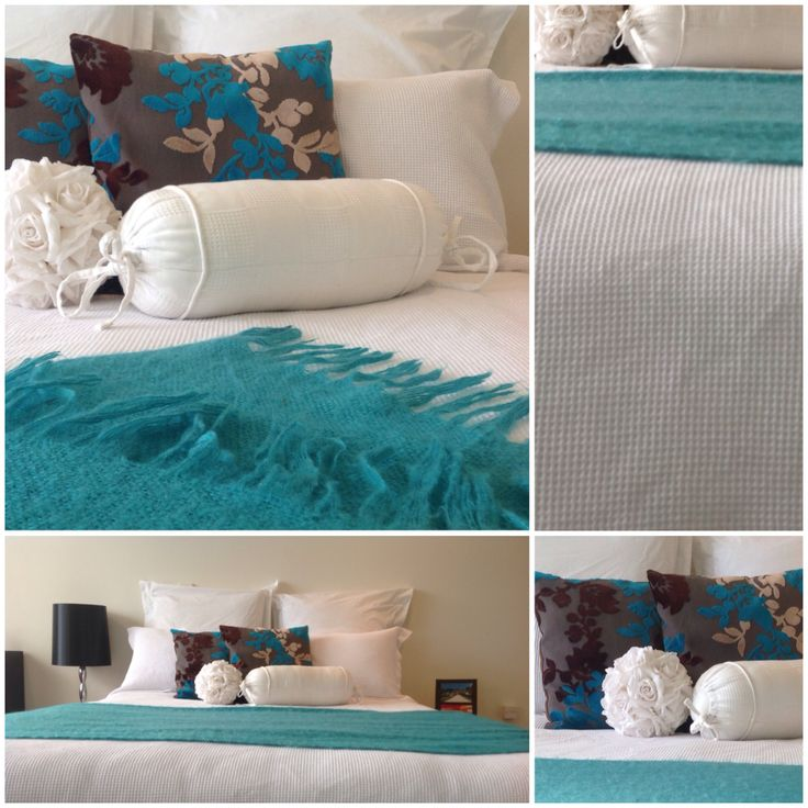 White Waffle Duvet, Blue throw & cushions. Cant be simpler!   Looks crisp and clean