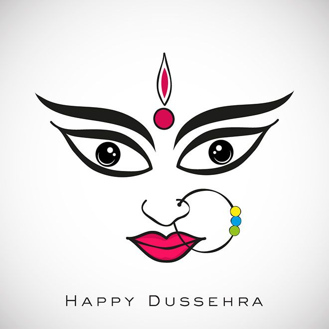 Vector happy Dussehra Durga Face greeting card Indian Hindu festival art work illustration