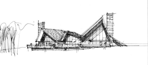 Early drawing of Scandinavian Golf Club by Henning Larsen Architects.