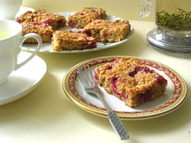 Raspberry and White Chocolate Flapjacks - great for afternoon tea or picnics.