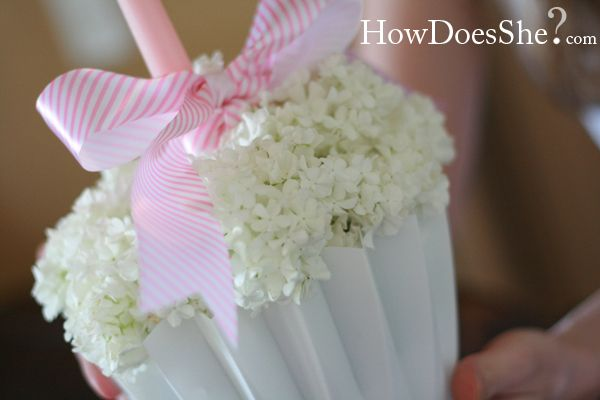 """Over-sized Flower """"Cupcake"""" Centerpiece; would be perfect for a baby shower for b-day party."""