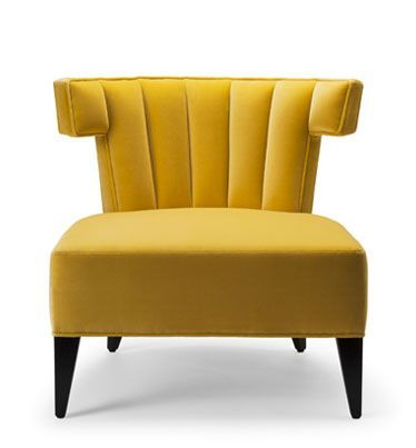 THE ISABELLA SLIPPER CHAIR. Shown here upholstered in primrose yellow cotton velvet, with legs in ebonised walnut.  Hand signed and individually numbered.  stuartscott.co.uk