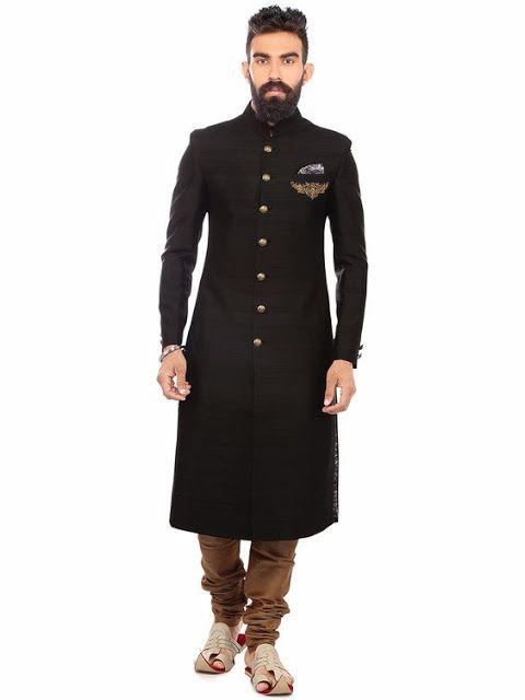 Plain Suit Fabric Sherwani