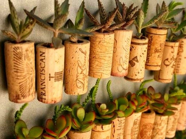 14. Wine Corks  Source: inheritingourplanet.com Use them as tiny succulent planters. Glue many together for a DIY corkboard. Or bathmat. With a little shaping you can also combine into coasters. Add a hook and ring on the end for a neat upcycled keychain. Source: redesignrevolution.com