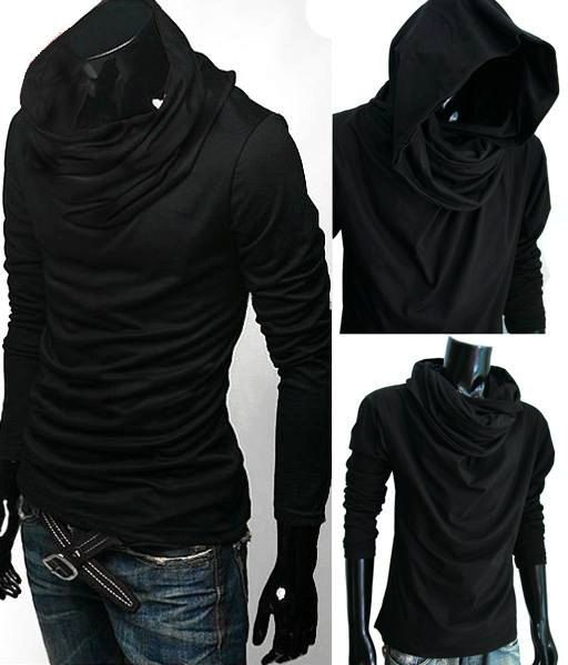 NEw Men BLACK Cloak Hoodie Cowl NEck long sleeve by CasualFriday99, $31.99