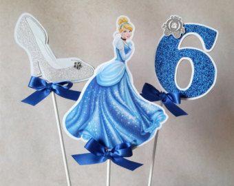La torta de Cenicienta o centro de mesa, Cenicienta inspirado decoración, doble cara, zapato de cristal, princesa brillo número.