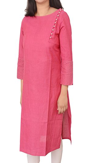 Women Corporate Kurtas, Classy Pink Corporate Kurta With Pintuck Sleeves