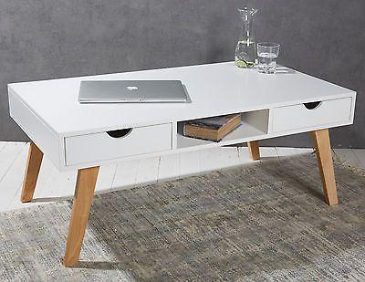 Couchtisch Mit 2 Schubladen Holz Weiss Beistelltisch Retro Skandinavischer Stil