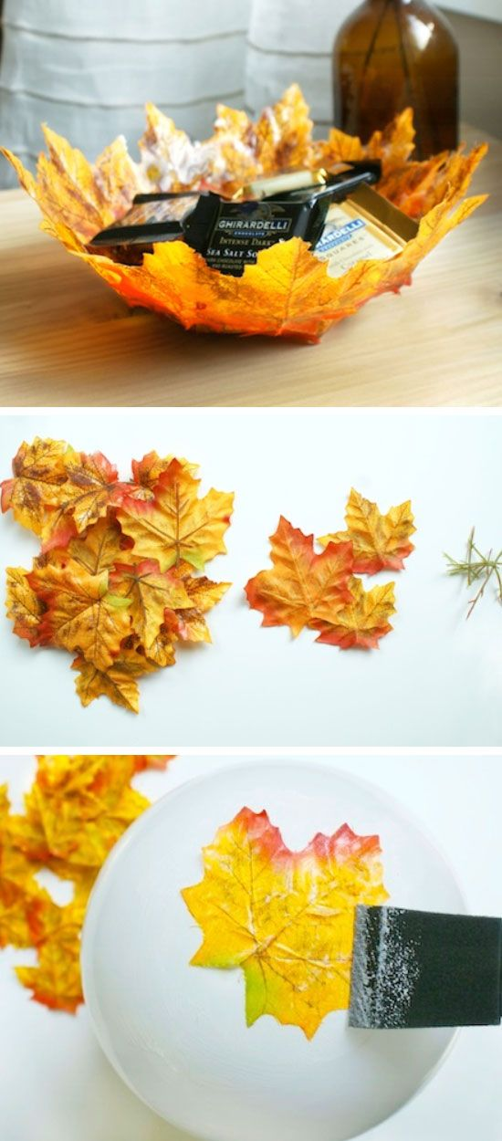 DIY Autumn Leaf Bowls | Click Pic for 20 Dollar Store Crafts for Home Decor Ideas for Cheap | DIY Home Decor Hacks Tips and Tricks