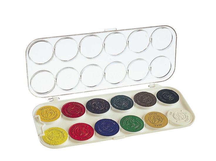 Lekolar: Vesivärirasia Wennström, 12 väriä. Huom. Staplesista saa 6 värin paketteja (10 paketin setteinä), jotka ovat edullisempia.