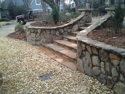 Brick Driveway Entrance Columns | Design steps with crab orchard flat stone & retaining wall with ...