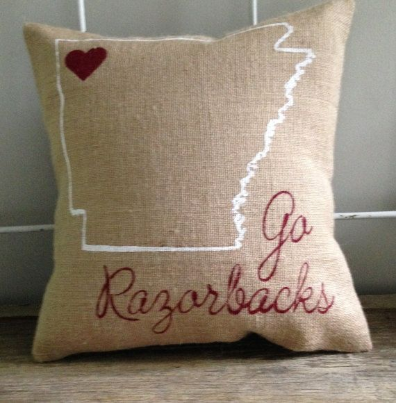 "University of Arkansas, Razorbacks burlap pillow- ""Go Razorbacks"", university of Arkansas, Custom Made to Order"