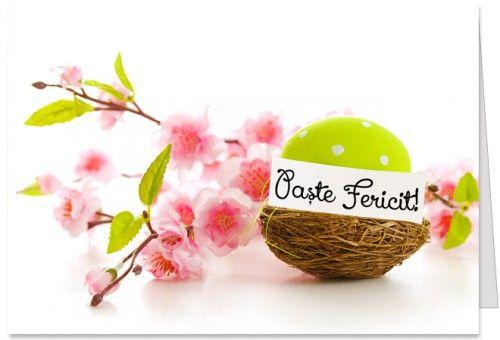 """Paste Fericit Felicitare de Paste cu flori, un ou colorat si mesajul """"Paste Fericit"""". Mesajul de Paste din interior poate fi modificat."""