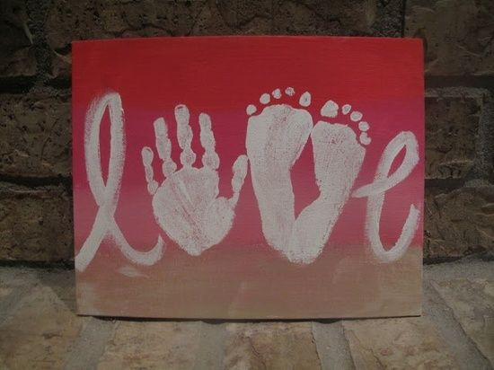 cute canvas art for nursery - spell love with cursive letters, hand print, and feet prints for the v.