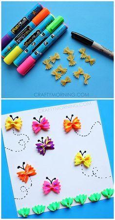 Farfalline di pasta dipinte