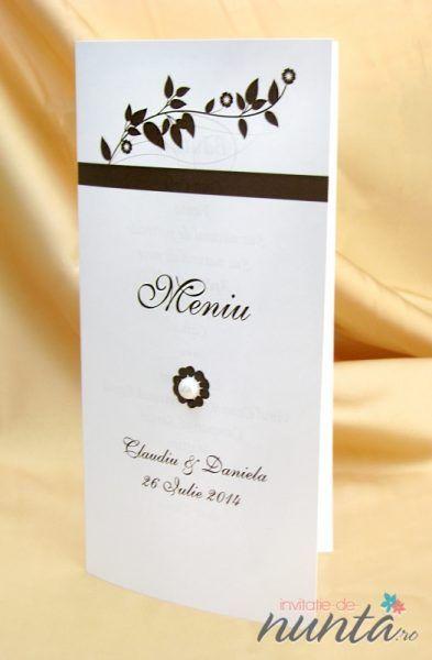 Meniu de nunta elegant, alb cu model maro si perla delicata.