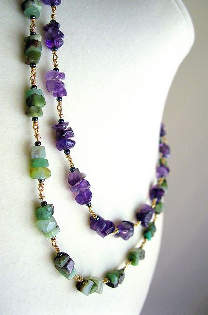 Chinese chrysoprase and amethyst Necklace handmade jewelry wire-wrapped