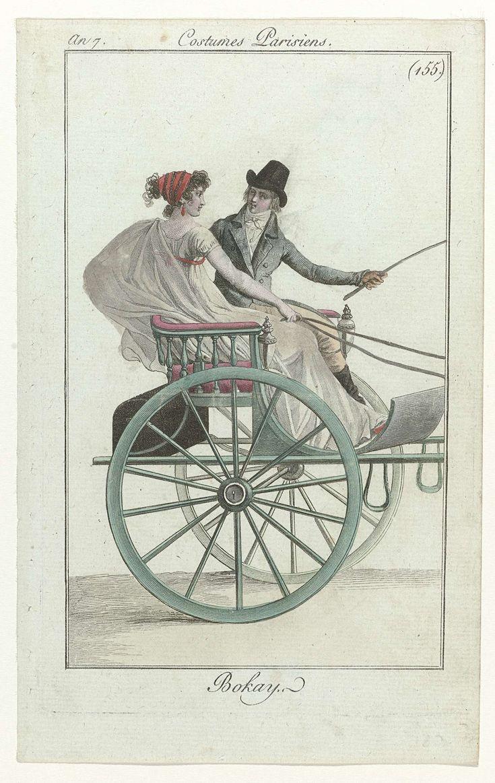 Journal des Dames et des Modes, Costume Parisien, 1 septembre 1799, An 7 (155) : Bokay, Anonymous, 1799