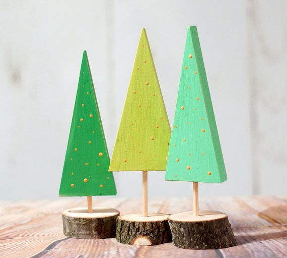 Please Read item details and shipping/policies. All measurements, included items, production time and shipping information can be found below. (If you are on mobile click the drop down tabs) Set of 3 Wood Christmas Trees.. Rustic Primitive Christmas Decor. With Log Slice Bases and