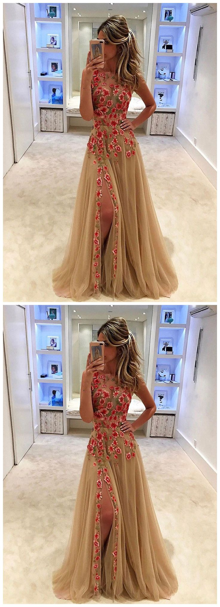Unique champagne tulle applique long prom dress, evening dress #promdress #promdresses #hiprom #prom #GraduationDress #2018 #PartyDress #laceprom #champagneprom