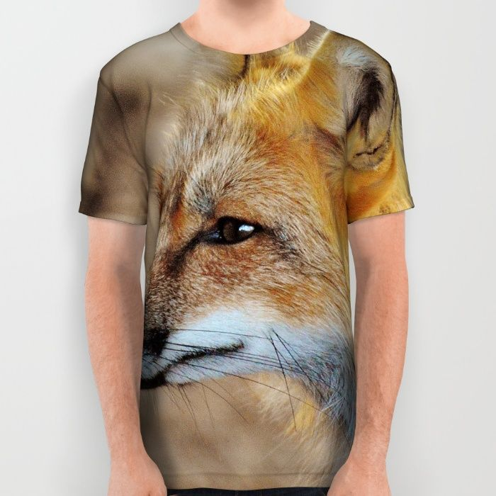 Inquisitive Mr. Fox All Over Print Shirt by Mixed Imagery   Society6