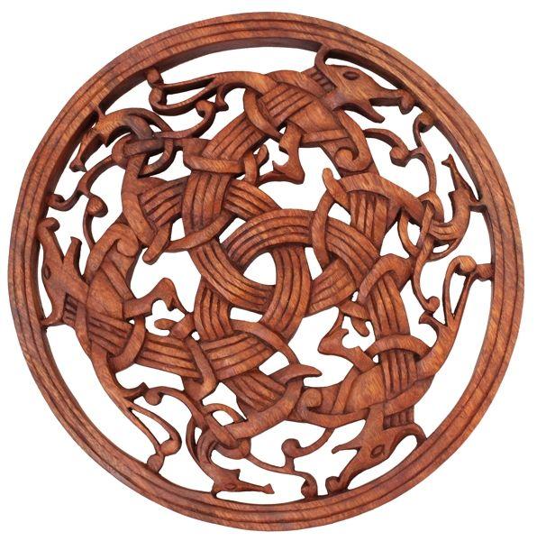 Wikinger Wanddeko ~ TARAN ~ Drachen Triade ~ aus Holz - Mittelalterliche Holzbilder: Handgemachte Kunst - Windalf