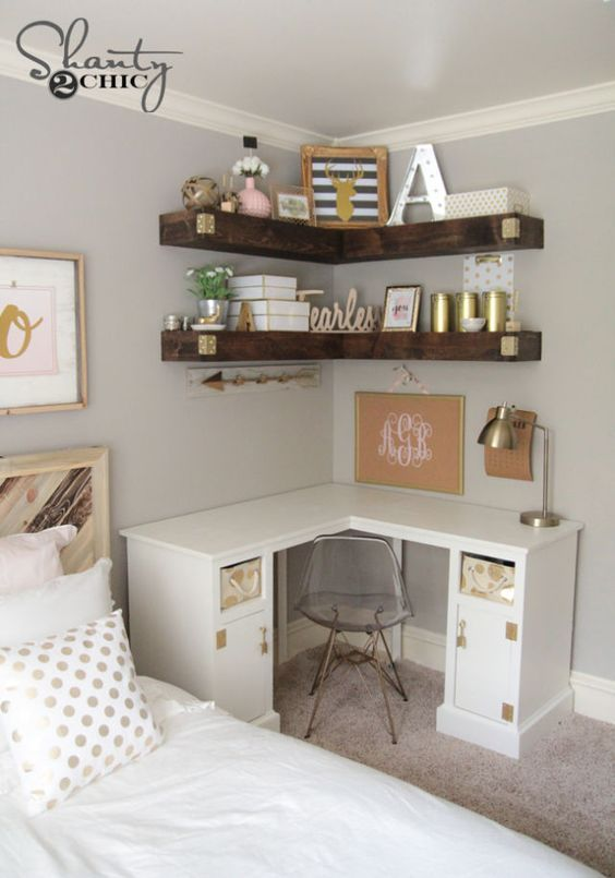Add more storage to your small space wit h some DIY floating corner shelves!  Love the desk and shelves.