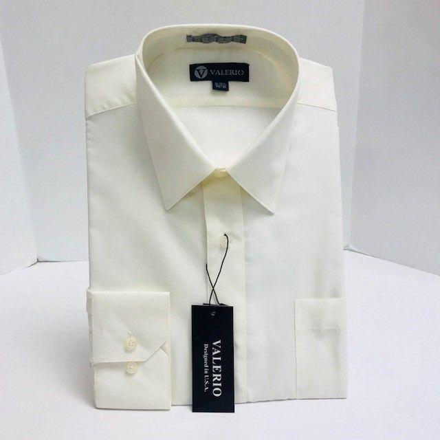 Valerio Men S Ivory Dress Shirt Long Sleeve Modern Fit With Pocket