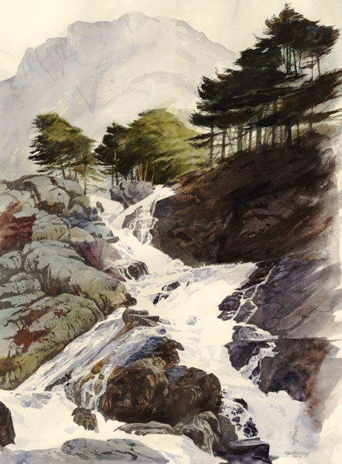 Ogwen falls., an original watercolour painting by Rob Piercy